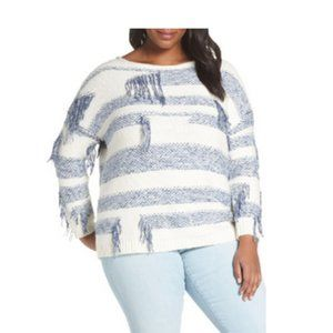NWT VINCE CAMUTO Fringe Detail Stripe  Sweater